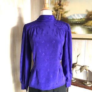 Vintage Purple Brocade Blouse